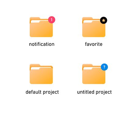 vector folder icons in different statuses. vector flat folder icons with light gradinet fill. Ilustracja