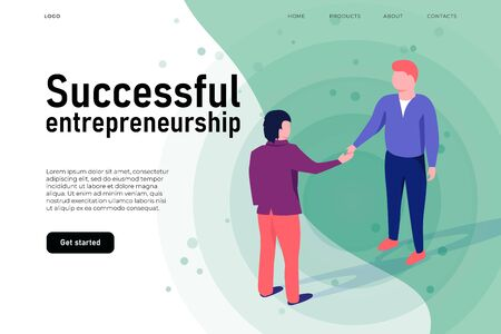 Successful entrepreneurship illustration concept, successful start up landing page teamplte. Two men shake hands.