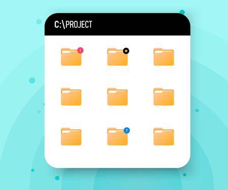 Project folder on hard disk. Project organization folder, vector Ilustracja