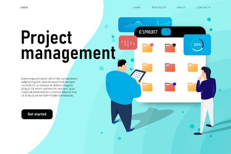 Project management illustration concept, two project members manage the folders with project information. vector landing page