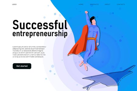 Successful entrepreneurship illustration concept, successful start up landing page teamplte. Flying superhero who illustrate growing.