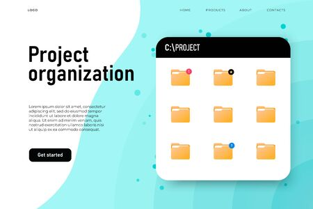 Project organization folder, board with project folders. Vector landing page Ilustracja