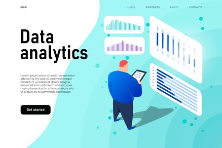 Data analytics dashboard, isometric man analyze the graphs and diagrams. Vector landing template Ilustracja