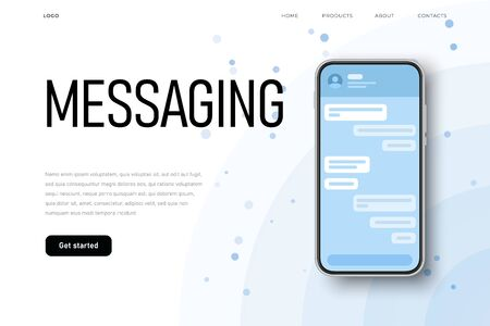 Conversation screen, talking bubbles. Messenger chat list with message placeholder. Modern light flat style.