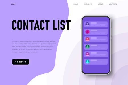 Contact list webpage template, list of contacts on the phone screen. Flat style Ilustracja