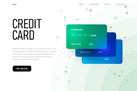 Credit card overview homepage, three plastic card landing page template Zdjęcie Seryjne - 149122939