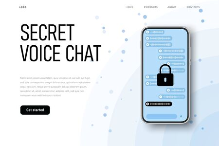 Protected voice chat, sercret conversation, encrypted connection channel protected from hacker attach. Encrypted voice messages. vector Ilustracja