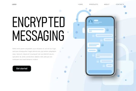 Secret protected chat illsutration with lock icon on encrypted messages. Landing page template Ilustracja