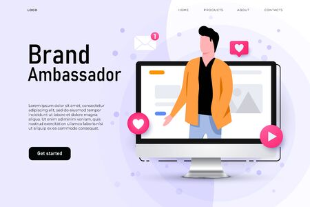 Brand ambassador illustration concept with man on the desktop screen who represent brand company. Social media ambassador. Vector landing page template