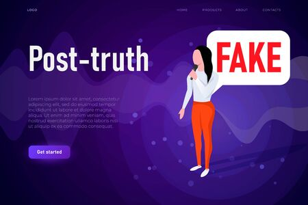 post truth illustration concept with woman who speaking fake information. Illustration