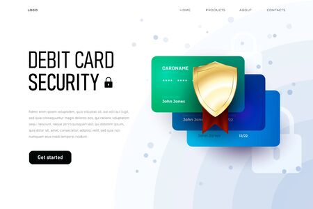 Online security fo dedit card, overview homepage, three plastic card landing page template Zdjęcie Seryjne - 149124480