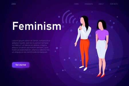 girl power illustration concept. Two isometric women stands on scene and speaking about the femenism.