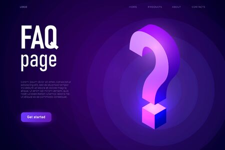 Faq page with 3d isometric question mark in ultraviolet colours. Ilustracja