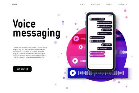 voice messaging in smartphone screen, voice chat illustration concept. colorful landing page with sound wave visualisation in voice messages.