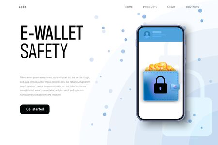 E wallet security. Money safety, online payments protecting.