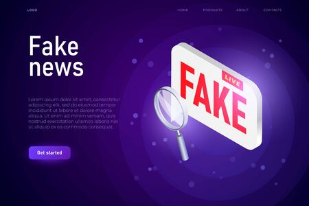 Fake News broadcast illustration concept, isometric text bubble with fake word. Ilustracja