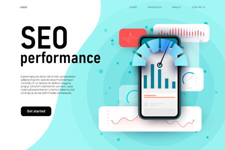 SEO performance, website optimization landing page concept with different graphics and interaction elements.
