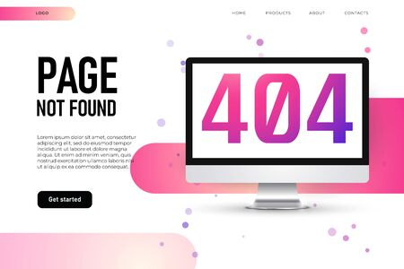 lost page 404 error, landing page template. 3d realistic mockup of desktop with 404 error page. Ilustracja