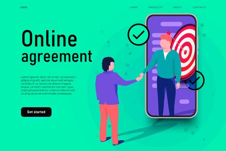 Online agreement illustration concept. Two businessmans shaking hands and carrying out the transaction