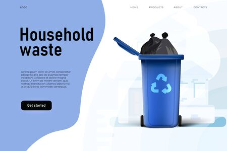 household waste at the garbage container, landing page template. Environmental protection.