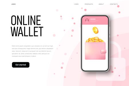 online wallet at phone screen with 3d isometric coins. Realistic pink leather wallet, finance security.
