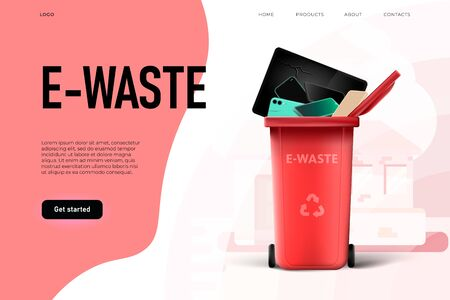 Environmental protection. Trash management, e waste illstration Ilustracja