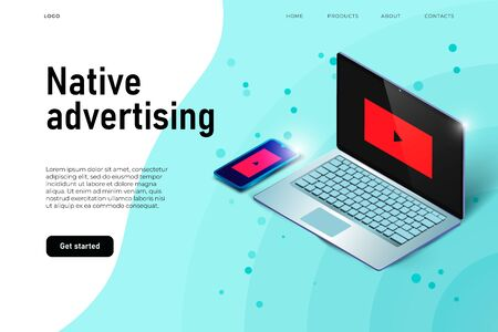 3d laptop and isometric smartphone showing a native advertisign, landing page concept,