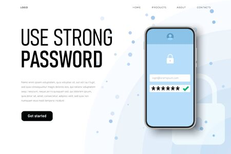 Use strong password reminder with realistic phone and password icon. Ilustracja