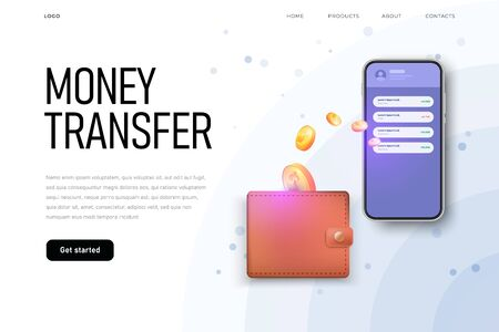 Money transfer from wallet to phone, landing page template, Ilustracja