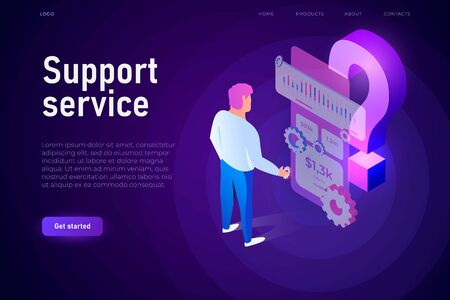 Support service illustration concept. Man interact with FAQ cloud screen. Big isometric 3d question mark.