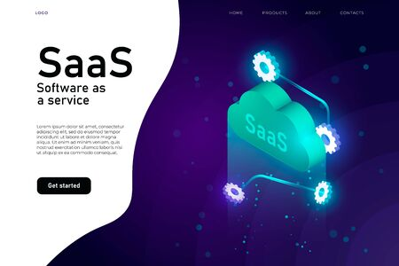 Software as a Service SaaS program. IT mainframe infrastructure website header. SaaS network website design layout, cloud computing service isometric Ilustracja