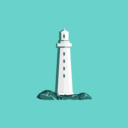 Lighthouse in modern style isolated on green background