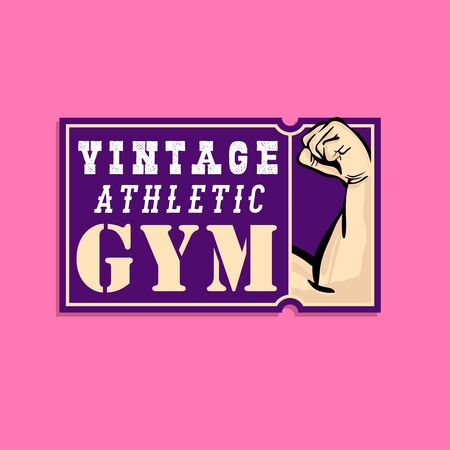 old school vintage logo design with comic styled pop-art drawn muscle healthy arm. Zdjęcie Seryjne - 149242178
