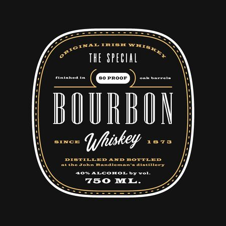 Vintage western alcohol beverage label, bourbon whiskey label template blackboard. Ilustracja