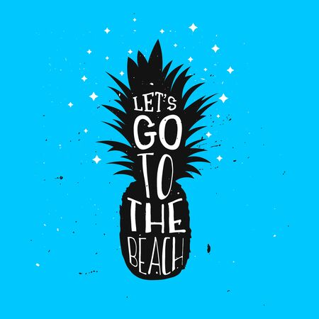 Lets go to the beach summer typography design with pineapple.
