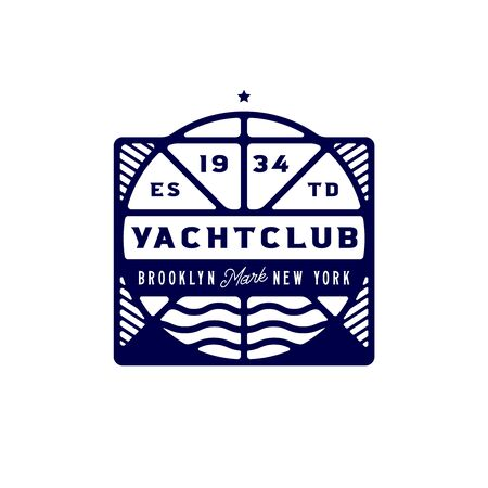 Luxury yacht club logotype template. Elite clean nautical badge