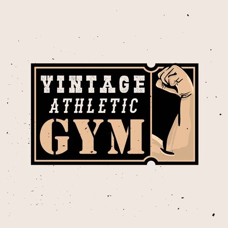 Vintage athlete gym  in retro style with grunge effect Ilustracja