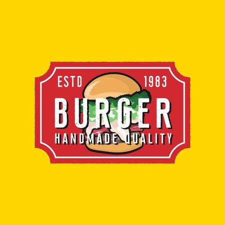 Burgers restaurant  template in vintage style Ilustracja