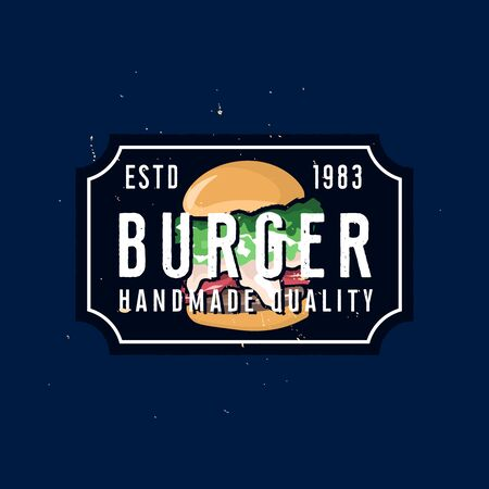 Vintage  template, 1970s styled burger house sign
