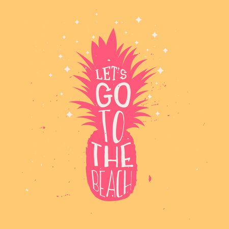 Lets go to the beach summer typography design