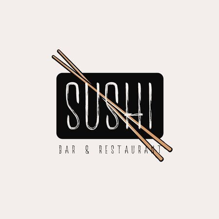 Simple elegant sushi  concept with crossed chopsticks