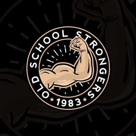 Emblem of vintage gym, fitness strong club. Graphic design for t-shirt prints Zdjęcie Seryjne - 149242255