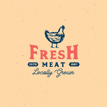 Vintage Chicken look, hand drawn retro badge with farm rooster meat, local food, farm fresh print. Ilustracja