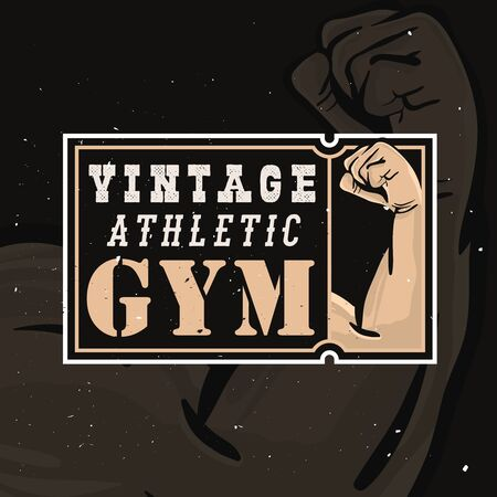Vintage athlete gym  in retro style with grunge effect Illustration