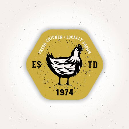 Rooster meat vintage  template, yellow badge