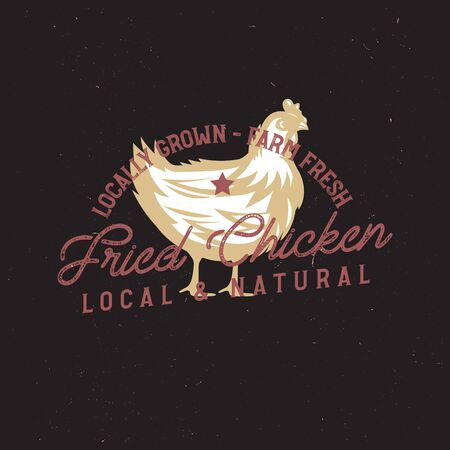 farm vintage  with chicken. only organic food, chicken meat retro badge. Ilustracja
