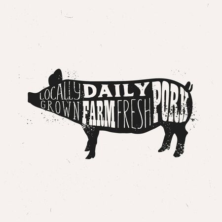 Vintage pork typography design, farm fresh pork poster