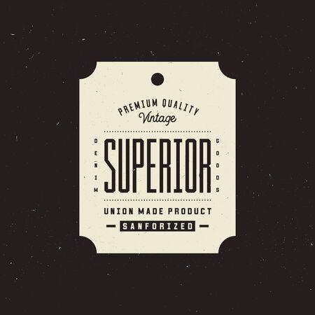 Superior denim clothing tag, retro vintage apparel label
