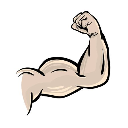 Biceps in cartoon style, muscle arm isolated on white background.