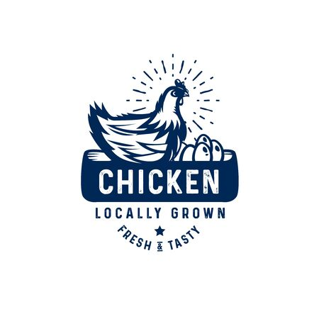 quality rooster   badge, emblem. Farm stamp of quality product Illustration